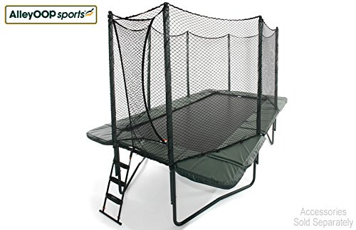 alleyoop powerbounce rectangular trampoline with integrated safety enclosure