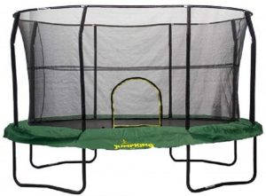 Jumpking Oval Trampoline with Green Graphic Pads